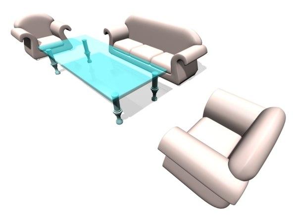 sofa table set 3d model