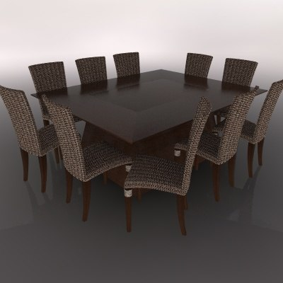 3d model of dining table chair