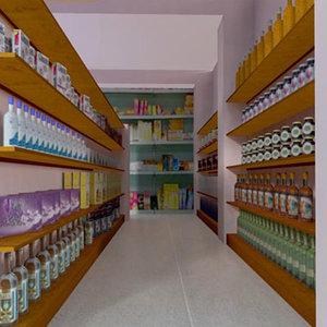 indoor supermarket obj