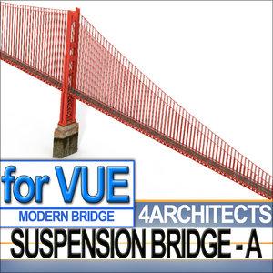 bridge suspension 3d model