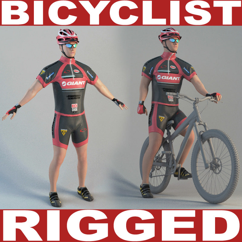 3d model bicyclist rigged biped