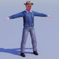 3d rancher cowboy character games model