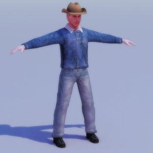 3d rancher cowboy character games model