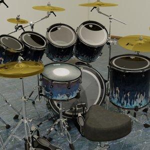 3d drum set kit 7pc