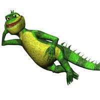 3ds max cartoon iguana character biped