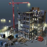 3ds max construction night scene