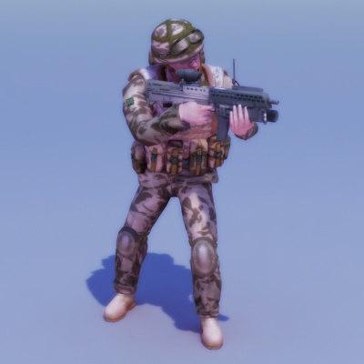 royal commando rigged rifle 3d max