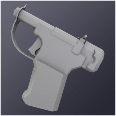 45 caliber oss pistol 3d model