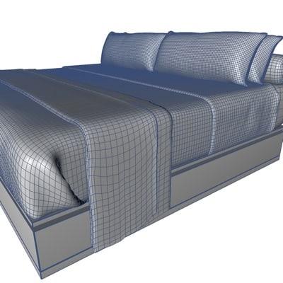 3d bed bedroom pillows model