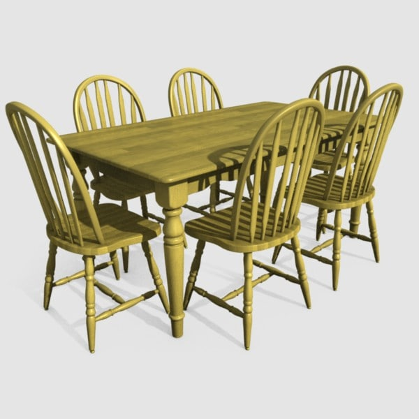 3d model of dining room table chairs