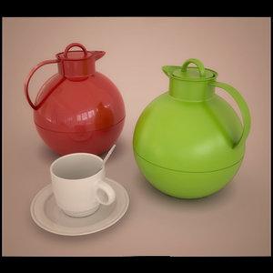 coffeepot cup spoon 3d model