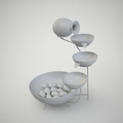 3d model fountain interior garden