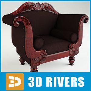 3d model north european mahogany armchair