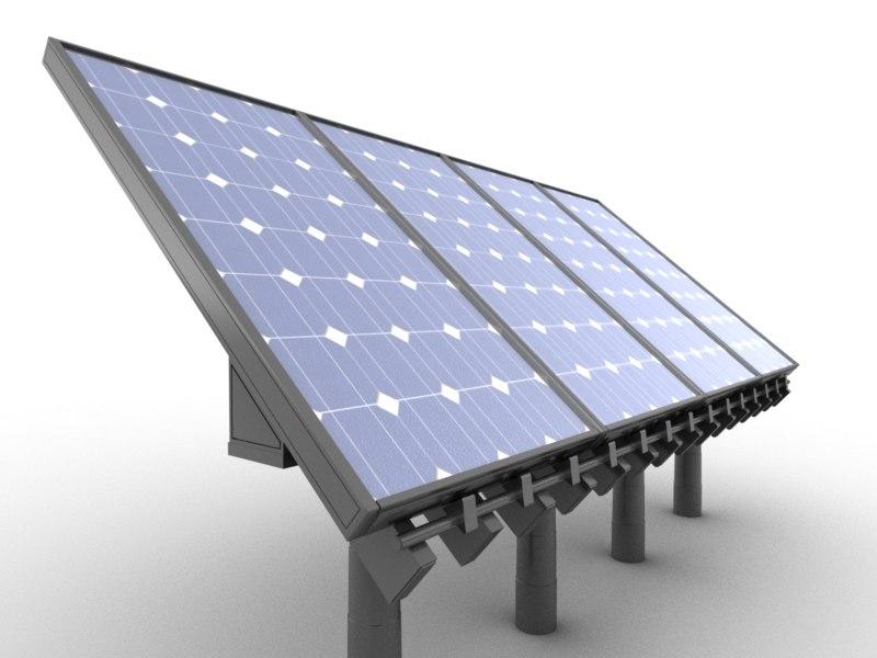 silicon solar panel 3d model