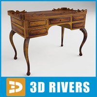 spanish writing desk 3d model