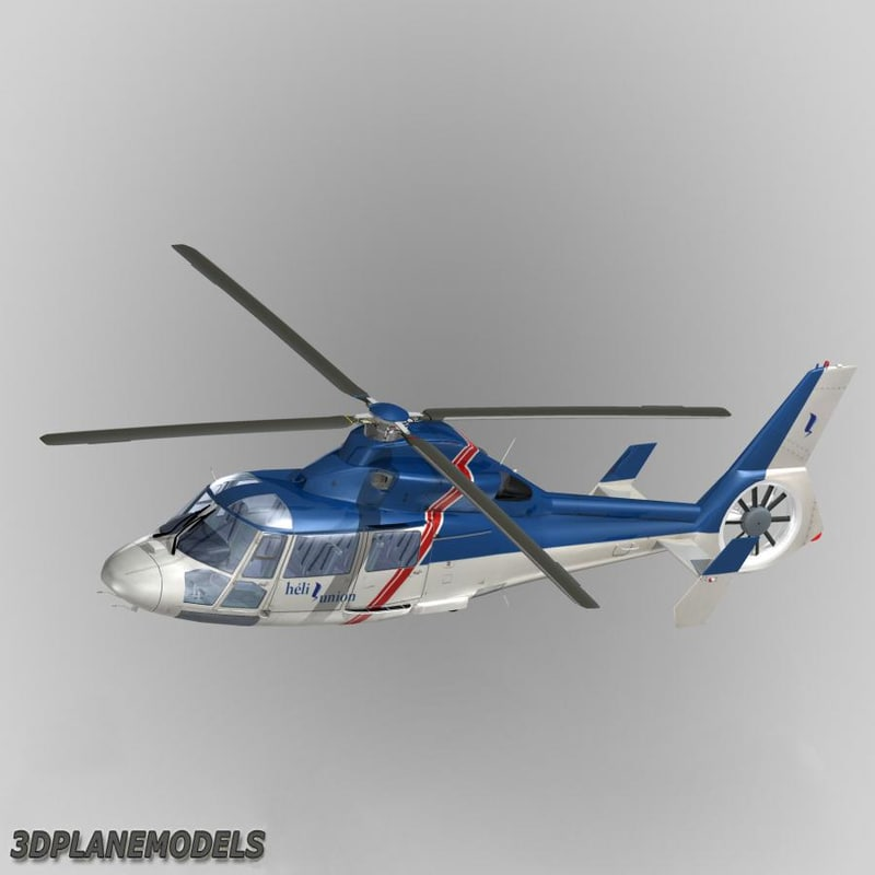 eurocopter dauphin helicopter interior 3d model