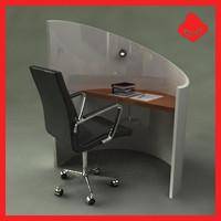 computer writing desk 3d max