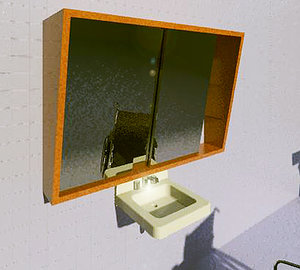 3d vanity cabinet inclined