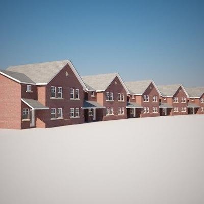 modern housing new build 3d model
