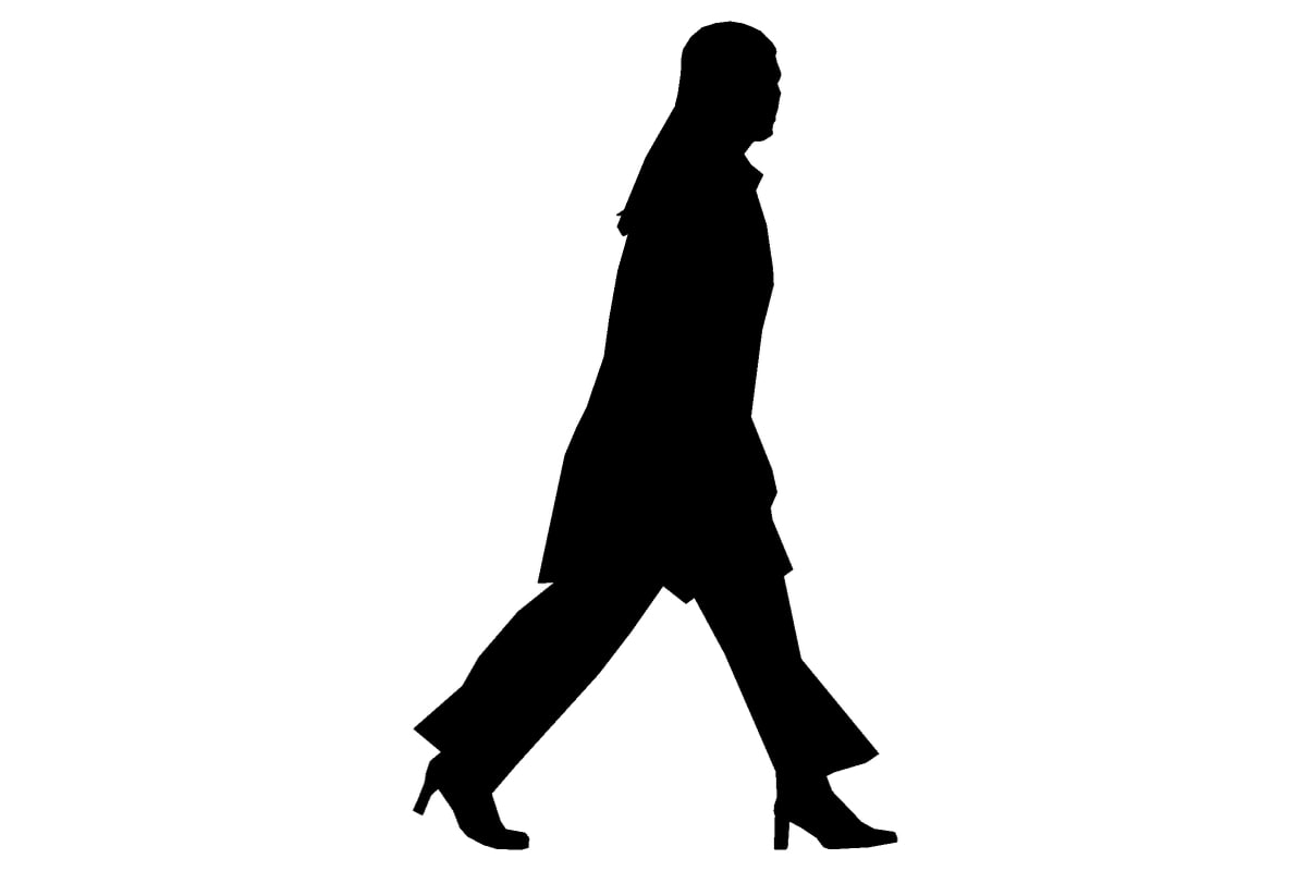 silhouette woman walking stride 3d model