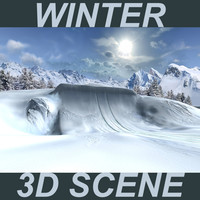 Winter 3D Scene 2 (Snow Half Pipe)