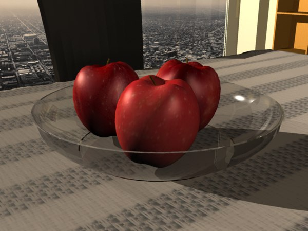 3ds apples photorealistic bowl