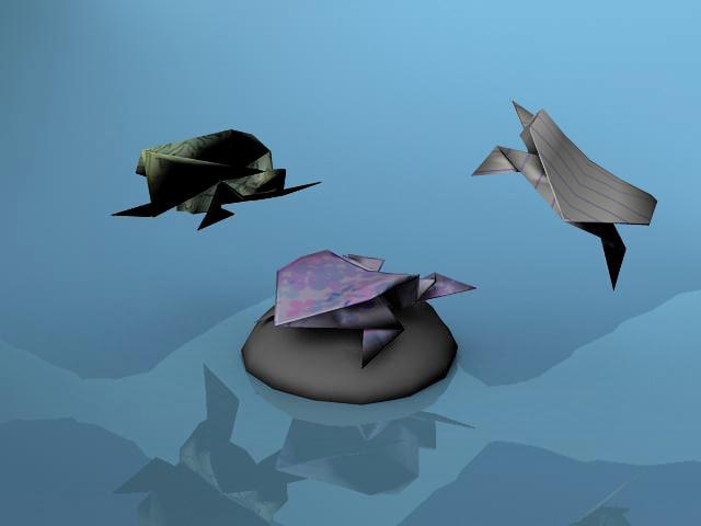 maya origami frogs