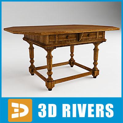 italian walnut table 3d model