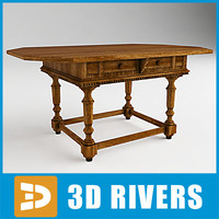 Italian walnut table 01 by 3DRivers