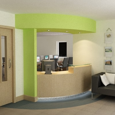 modern office reception. modern reception scene max office a