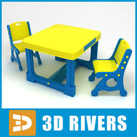 kids table chairs 3d model