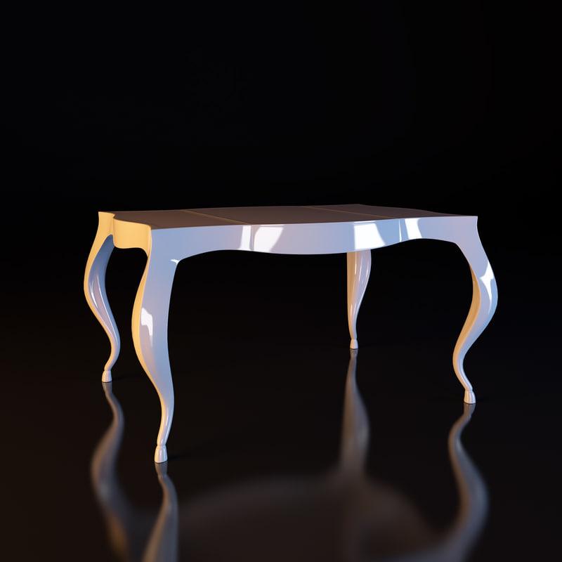 3d model white table