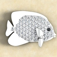 rhino paved fish jewelry pendant
