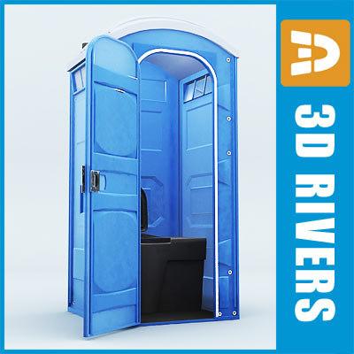 portable toilet interior public 3d model