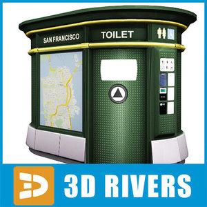 3d model automated toilet public