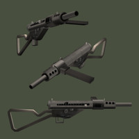 3d model of sten submachine gun ii
