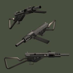 3d model of sten submachine gun ii
