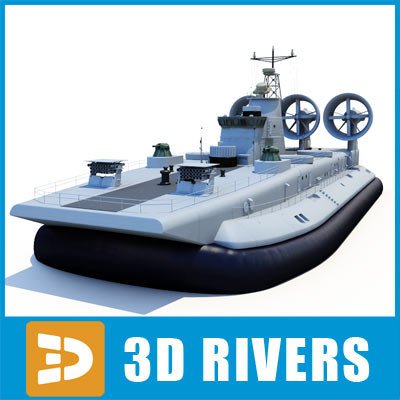zubr class lcac hovercraft 3d model