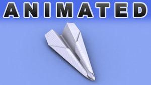 3d model sheet paper aeroplane