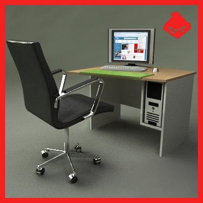 3d modern office computer desk