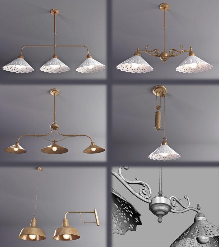 3d model lamps copper
