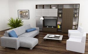 3d model of living room set 04