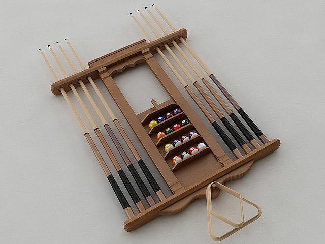 pool stick rack 3d model