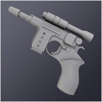 3dsmax compact laser pistol weapons