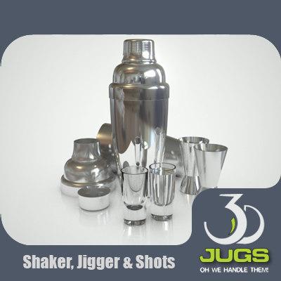 cocktail shaker jigger shot 3d model