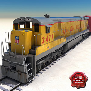 realistic train goods wagons 3d model