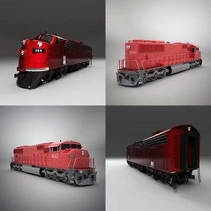 3d emd sd60m locomotive model