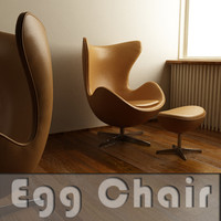 egg chair leather 3d model