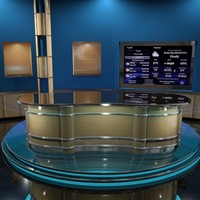 3d model news talk set