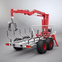 wood trailer 3d model